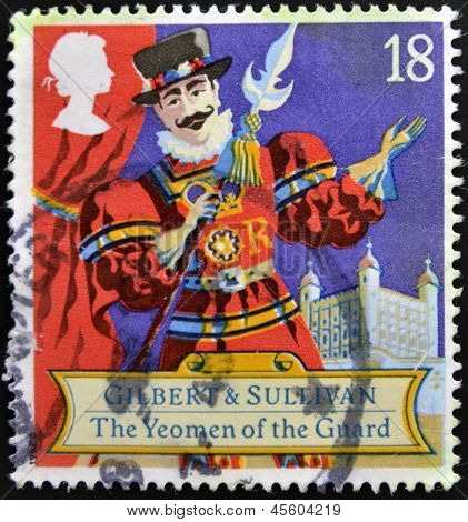 stamp printed in the Great Britain shows Scene from comic opera Yeoman of the guard