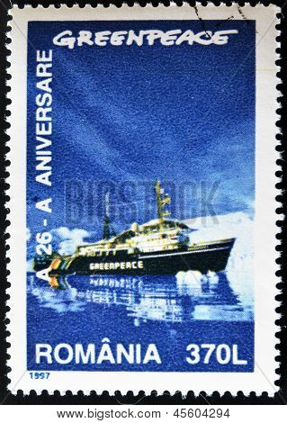 A stamp printed by Romania dedicated to Greenpeace