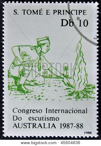 A stamp printed in Sao Tome and Principe dedicated to International Congress of Scouts in Australia