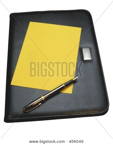 Black Leather Document Holder - With Clipping Path