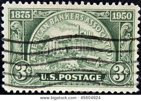 United States Of America - Circa 1950: A Stamp Printed In Usa Devoted American Bankers Association