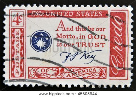 A stamp printed in the USA shows Credo and this be our Motto in GOD is our TRUST
