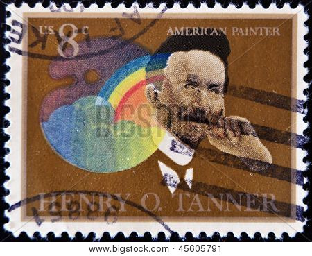USA - CIRCA 1973 : A stamp printed in the USA shows Henry Ossawa Tanner portrait American Painter