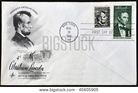 stamp printed in USA shows Lincoln