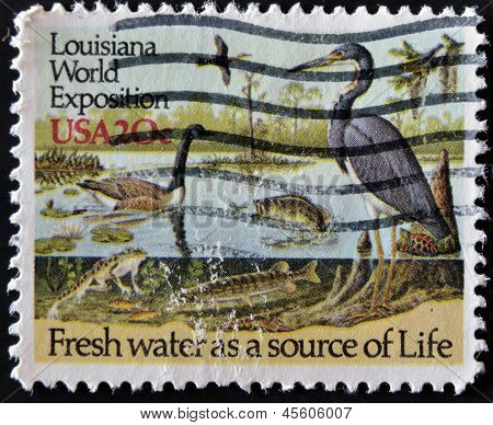A stamp dedicated to The 1984 Louisiana World Exposition shows fresh water as a source of life