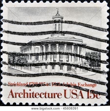 United States Of America - Circa 1981: A Stamp Printed In Usa Shows Philadelphia Exchange, Stricklan