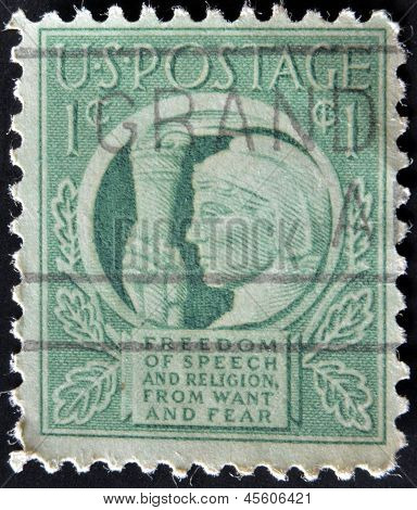 A stamp printed in the USA shows Liberty and words Freedom of speech and religion from want and fear