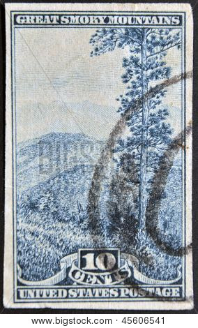 A stamp printed in USA shows Great Smoky Mountains
