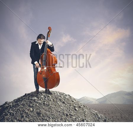 Musician Playing Bass