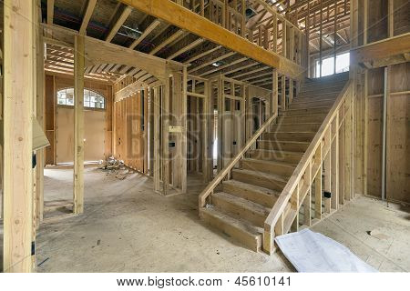 New Home Construction Framing Foyer Area