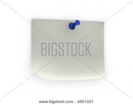 Note With Blue Pushpin