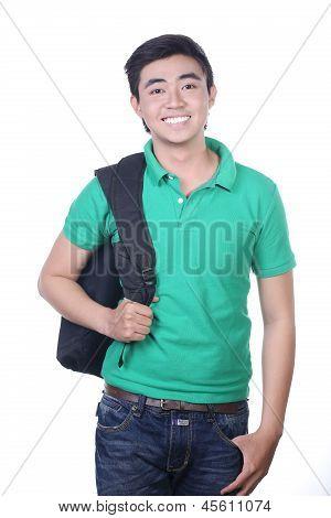 Asian university student guy - isolated on white