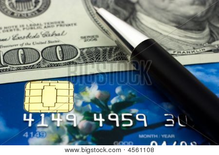 Credit Card, Money And Pen