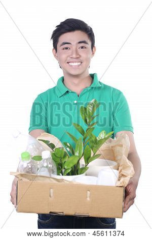 picture of handsome man with recyclable box