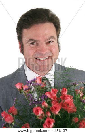Businessman With Roses Closeup