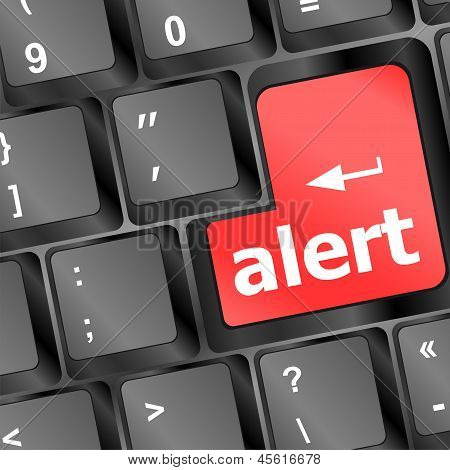 Computer Keyboard With Attention Key Alert - Business Background