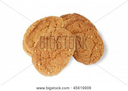 Oatmeal Cookies On White.
