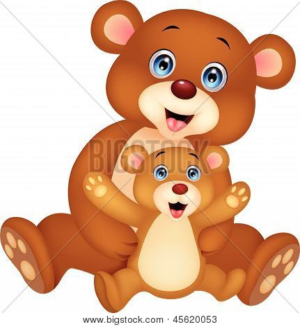 Mother and baby bear cartoon