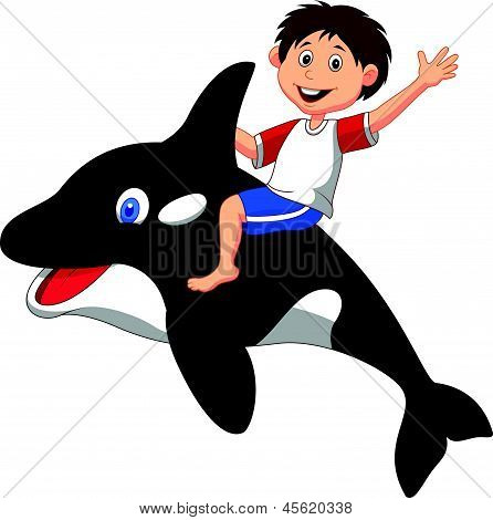 Cartoon boy riding orca
