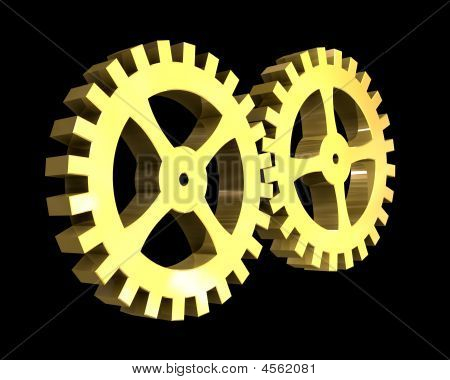Two Golden Gears In Gold - 3D Made
