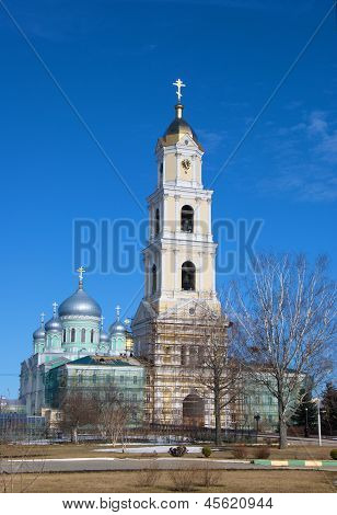 Bell tower and church in a monastery in Diveevo