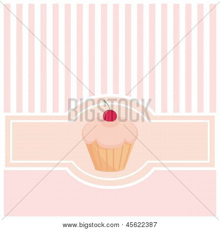 Vector card or invitation with muffin cupcake and vertical strips.