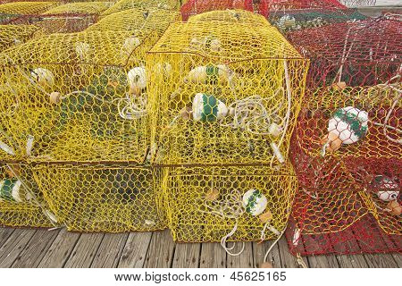 Crab Pots On A Dock In North Carolina