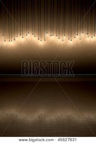 Glühbirne hängen Wandgestaltung im Zimmer