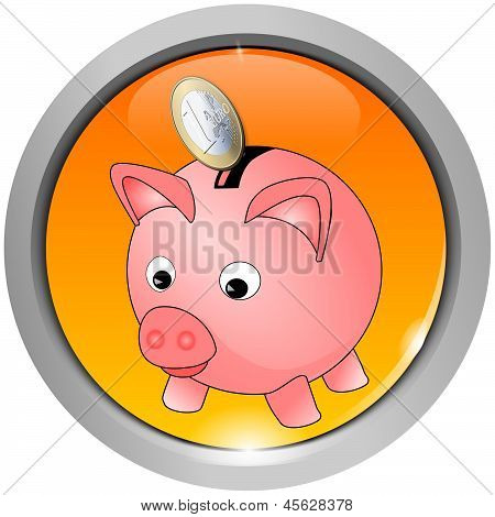Button with piggy bank icon