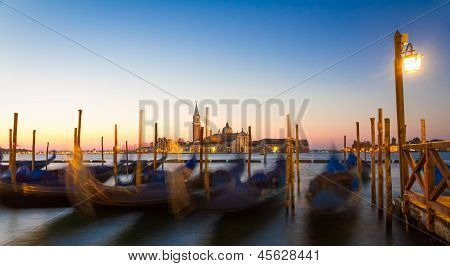 Gondolas At Sunrise With San Giorgio Di Maggiore Church, Venice, Venezia, Italy