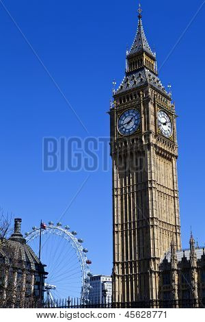 Big Ben (houses Of Parliament) And The London Eye