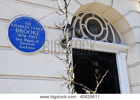 Charles Vyner Brooke Blue Plaque In London