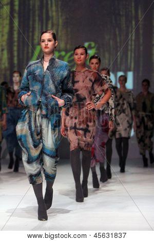 ZAGREB, CROATIA - May 09: Fashion model wears clothes made by KATRIEN VAN HECKE on