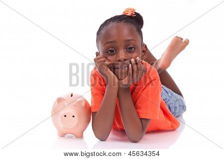 Cute Little Black Girl With A Smiling Piggy Bank - African Children