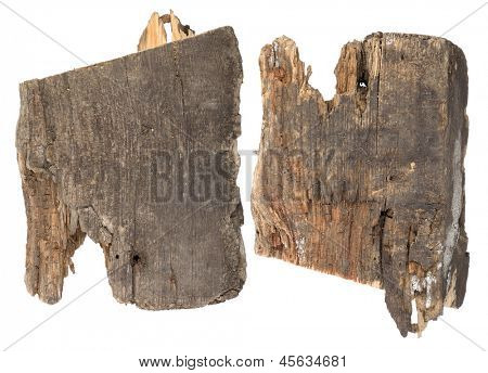 Pieces of the old rotten wooden planks