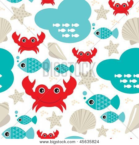 Seamless fish and lobster crab ocean seashell background pattern in vector