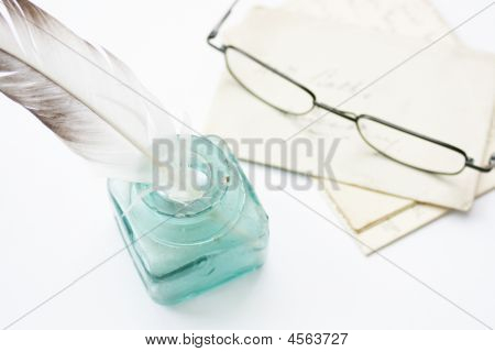 Quill, Letters & Glasses