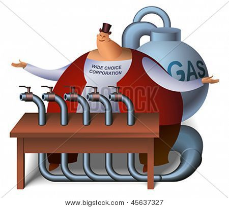 Ironical cartoon with a wide choice trader on the gas market. Editable vector illustration.