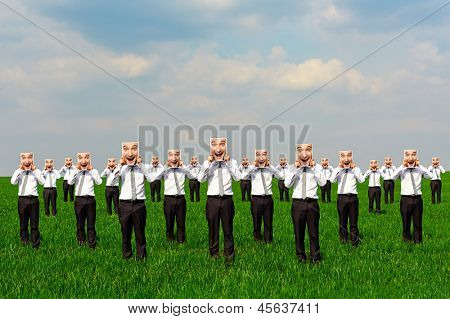concept photo of happy crowd on the green field