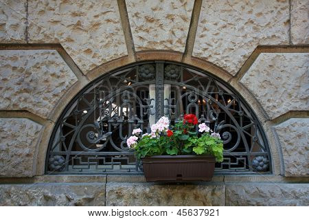 Beauty Geranium Outdoor Flower Box In Window
