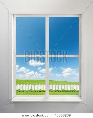 Modern residential window and garden behind