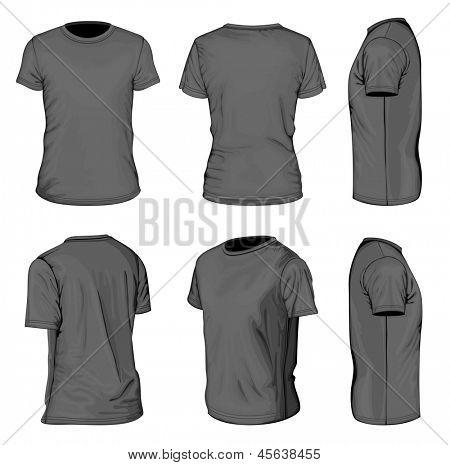 All views men's black short sleeve t-shirt design templates (front, back, half-turned and side views). Vector illustration. No mesh.