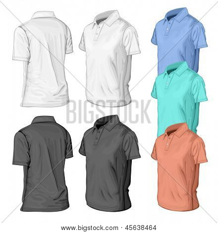 Men's short sleeve t-shirt design templates (half-turned  views). Vector illustration. No mesh.
