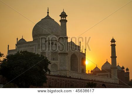 Taj Mahal sunset view from the banks of the Yamuna river