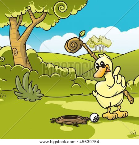 Vector illustration of a duck playing golf.