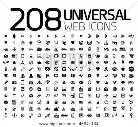 Negro icon set: web, internet, móviles, business, tecnología. Vector