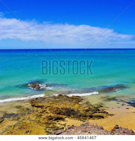 view of Sotavento Beach in Fuerteventura, Spain