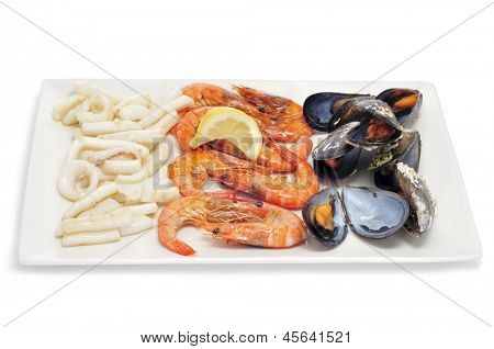 closeup of a tray of mariscada, typical spanish cooked seafood, such as shrimps, mussels and squid