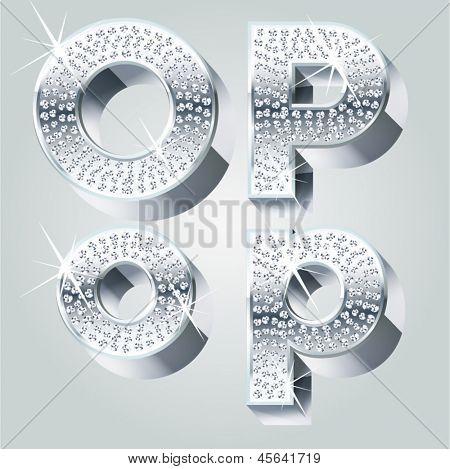 Chrome symbols inlaid of diamond crumbs. Letters O P