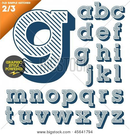 Vector illustration of an old fashioned alphabet. Vintage style. Blue hatched background